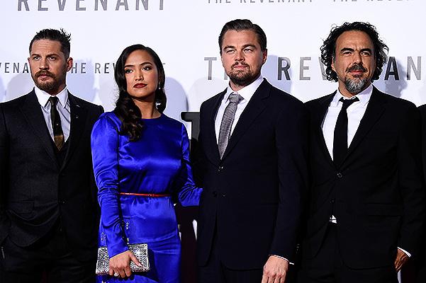 """Леонардо ДиКаприо и Том Харди на премьере """"Выжившего"""""""