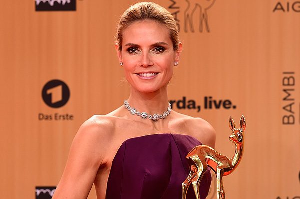 BERLIN, GERMANY - NOVEMBER 12: Heidi Klum is seen with her award at the Bambi Awards 2015 winners board at Stage Theater on November 12, 2015 in Berlin, Germany. (Photo by Alexander Koerner/Getty Images)