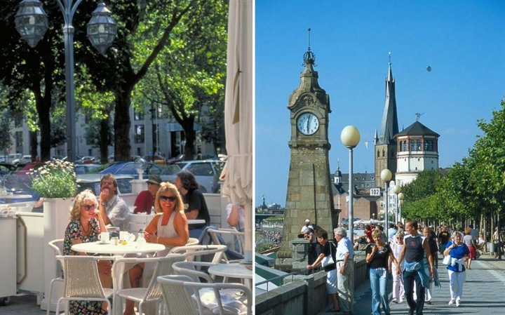 Слева – передохните в одном из летних кафе Старого города. Справа – часовая башня базилики Святого Ламберта.