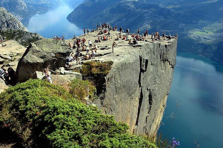 ulpit-Rock-or-Preikestolen-Prekestolen-in-Norwegian-is-one-of-the-area's-big-tourist-attractions