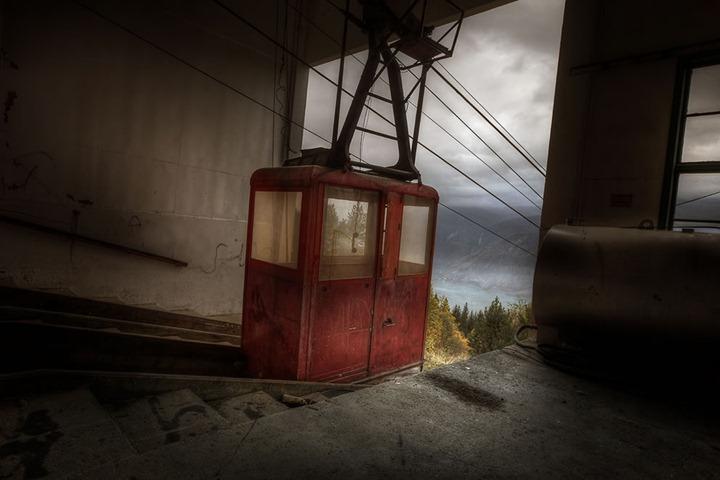 Cable-car-top-alpine-view-abandoned-sanatorium