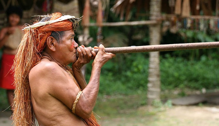 A-Yagua-Yahua-tribeman-demonstrating-the-use-of-blowgun-blow-dart-at-one-of-the-Amazonian-islands