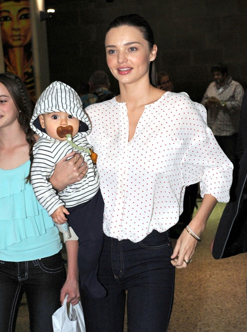 Miranda Kerr And Son Flynn Arrive In Melbourne (USA ONLY)