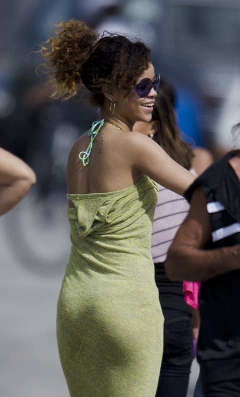 Rihanna - Leggy in Green Dress in Barbados-02