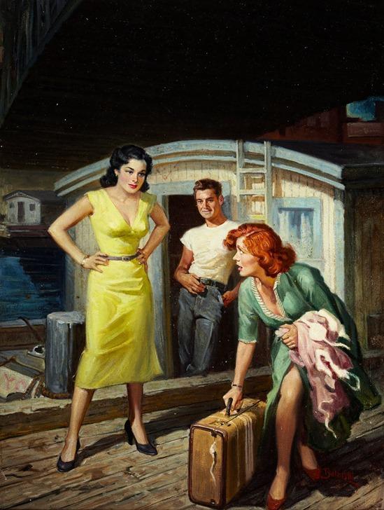 RUDOLPH BELARSKI (American, 1900-1983). River Boat Girl, paperback digest cover, 1952